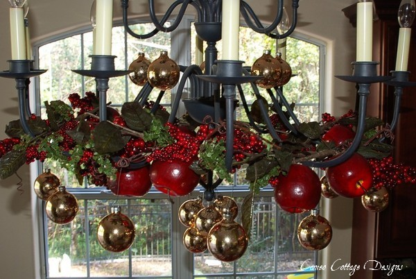 and i love all the light during the day shining in - How To Decorate A Chandelier For Christmas
