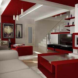 diseñointerior en rojo y blanco