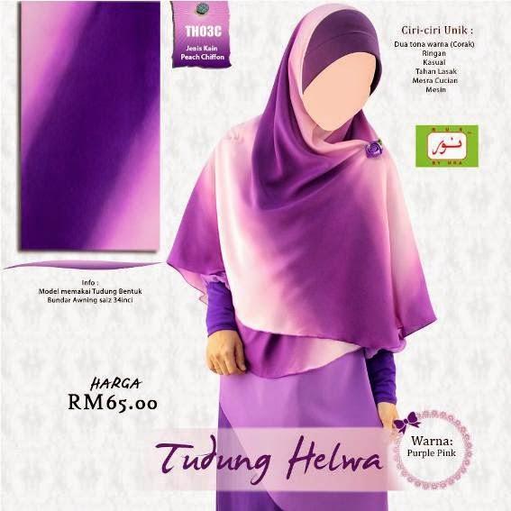 tudung bundar awning purple pink