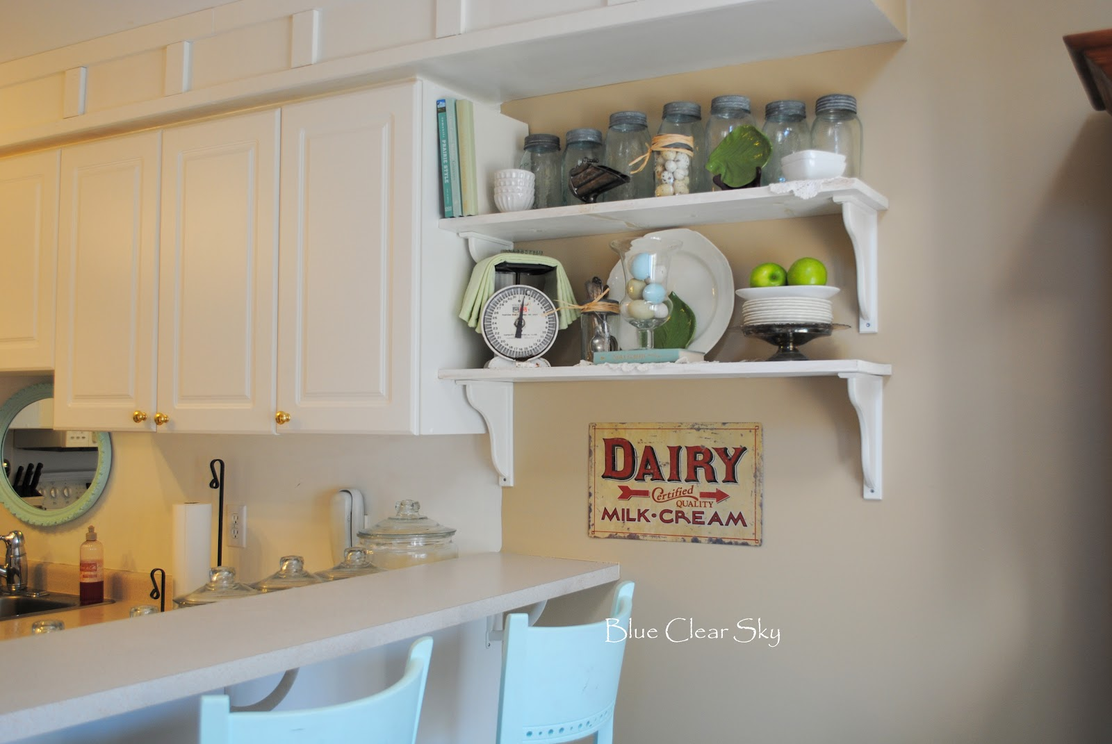 rustic maple spring shelves in our kitchen