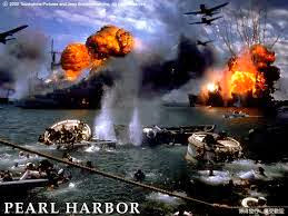 Pearl Harbor. Planes and ships bombing each other.