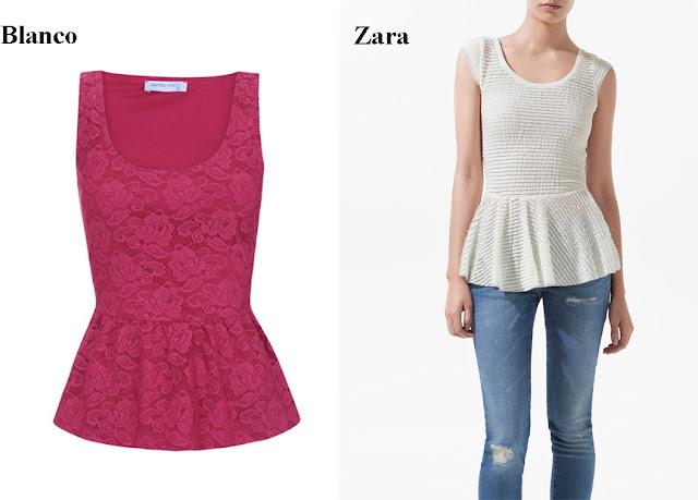 Tops peplum Blanco y Zara.