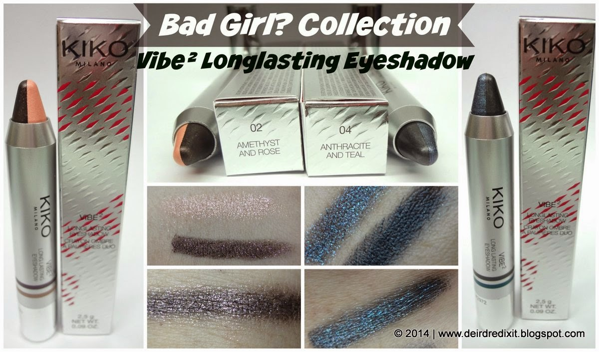 Swatch Kiko Vibe² Longlasting Eyeshadow nr 02 e 04
