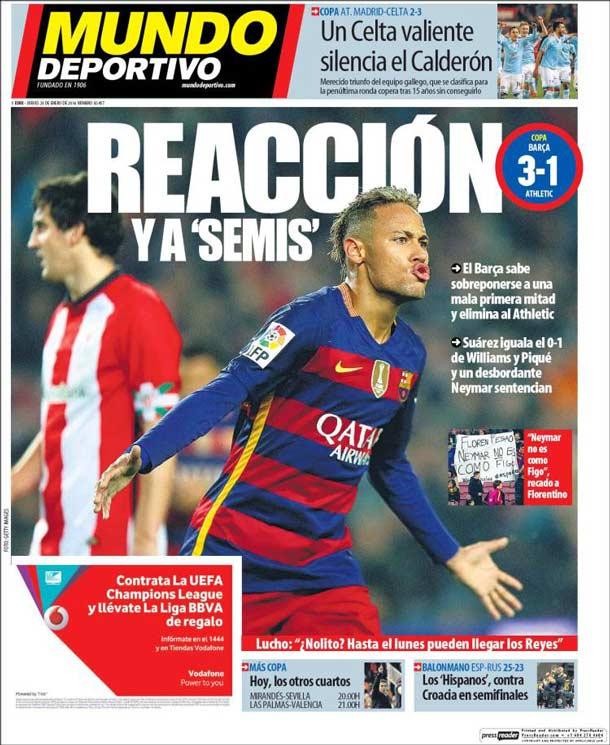 Portada del periódico Mundo Deportivo, jueves 28 de enero de 2016