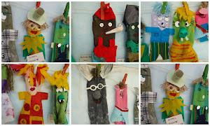 Fantoches feitos pelas crianças