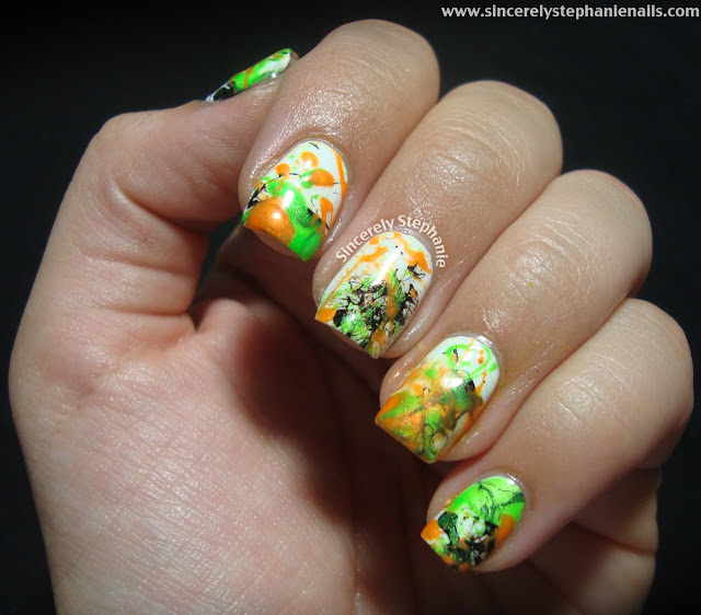 halloween splatter nails