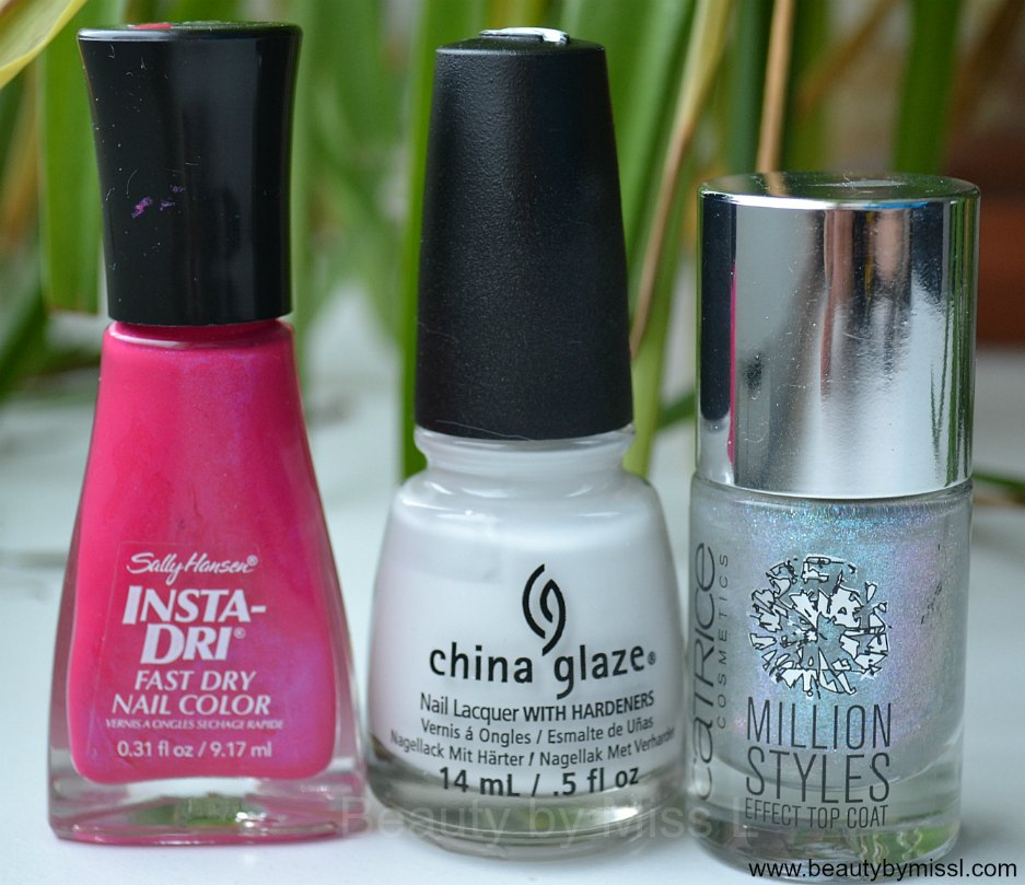 Sally Hansen Insta-Dri 220 Flashy Fuchsia, China Glaze  White on White, Catrice Million Styles Effect Top Coat Godfather Of Pearl