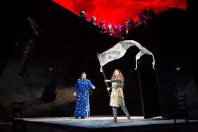Ben Johnson (Carlo), Kate Ladner (Giovanna) and Chorus in Buxton Festival's Giovanna d'Arco. Photo (c) Jonathan Keenan