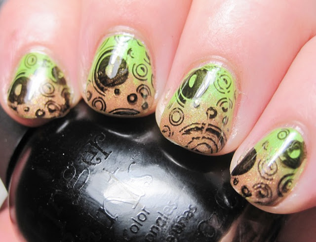 China Glaze Tree Hugger with OPI Charmed by a Snake gradient, stamped