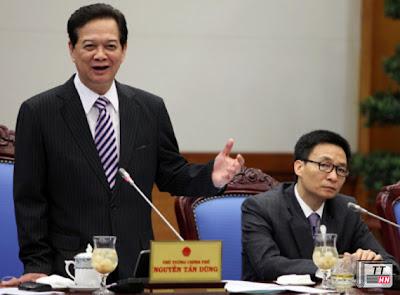 Thủ tướng Nguyễn Tấn Dũng phát biểu chúc mừng nhân dịp kỷ niệm 82 năm Ngày thành lập Đoàn thanh niên cộng sản Hồ Chí Minh trong buổi làm việc với Ban Bí thư Trung ương Đoàn