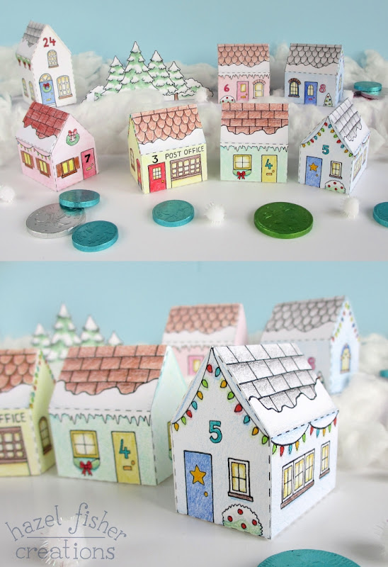 Printable Colour In Advent Calendar Village hazelfishercreations