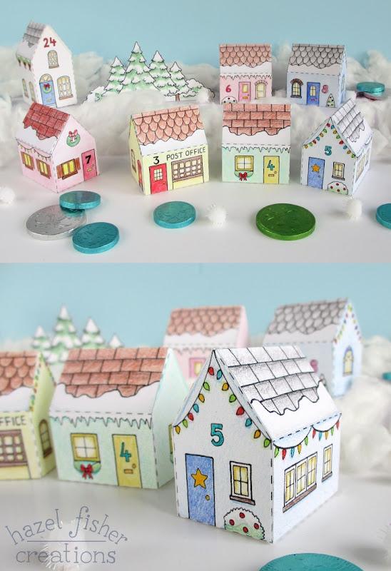 Printable Colour In Advent Calendar Village hazelfishercreations