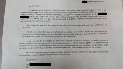 Otra entidad bancaria española proponiendo la eliminación temporal de las clausulas suelo en sus hipotecas