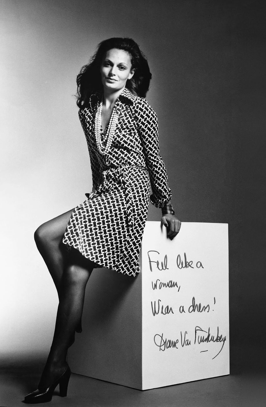 via fashioned by love | Diane von Furstenberg wearing the very first wrap dress photographed by Roger Prigent for the 1972 ad campaign