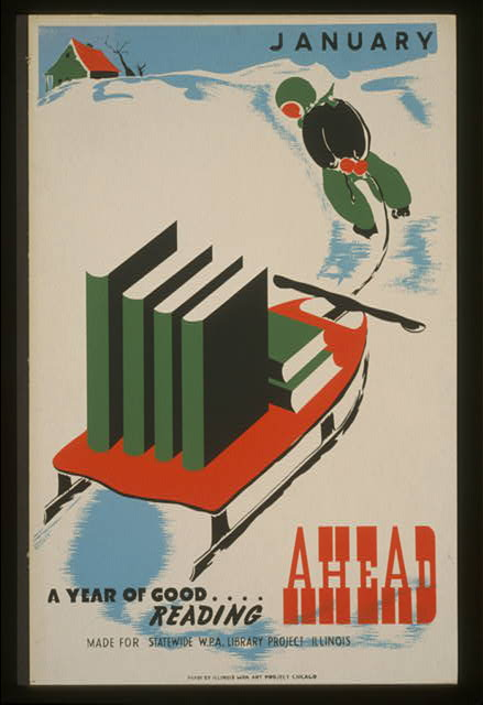 wpa, federal art project, art, literature, books, vintage, vintage posters, retro prints, classic posters, graphic design, free download, January A Year of Good Reading Ahead - Vintage WPA Library Poster