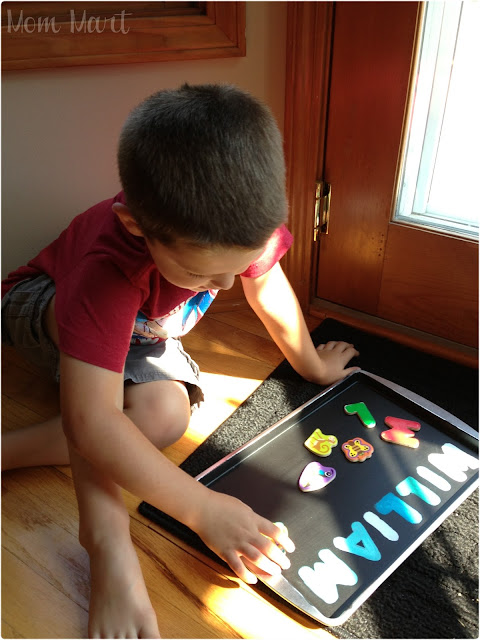 How to Make a Homemade Magnetic Matching Play Tray #Tutorial #DIY #CraftsForKids #LetterRecognition