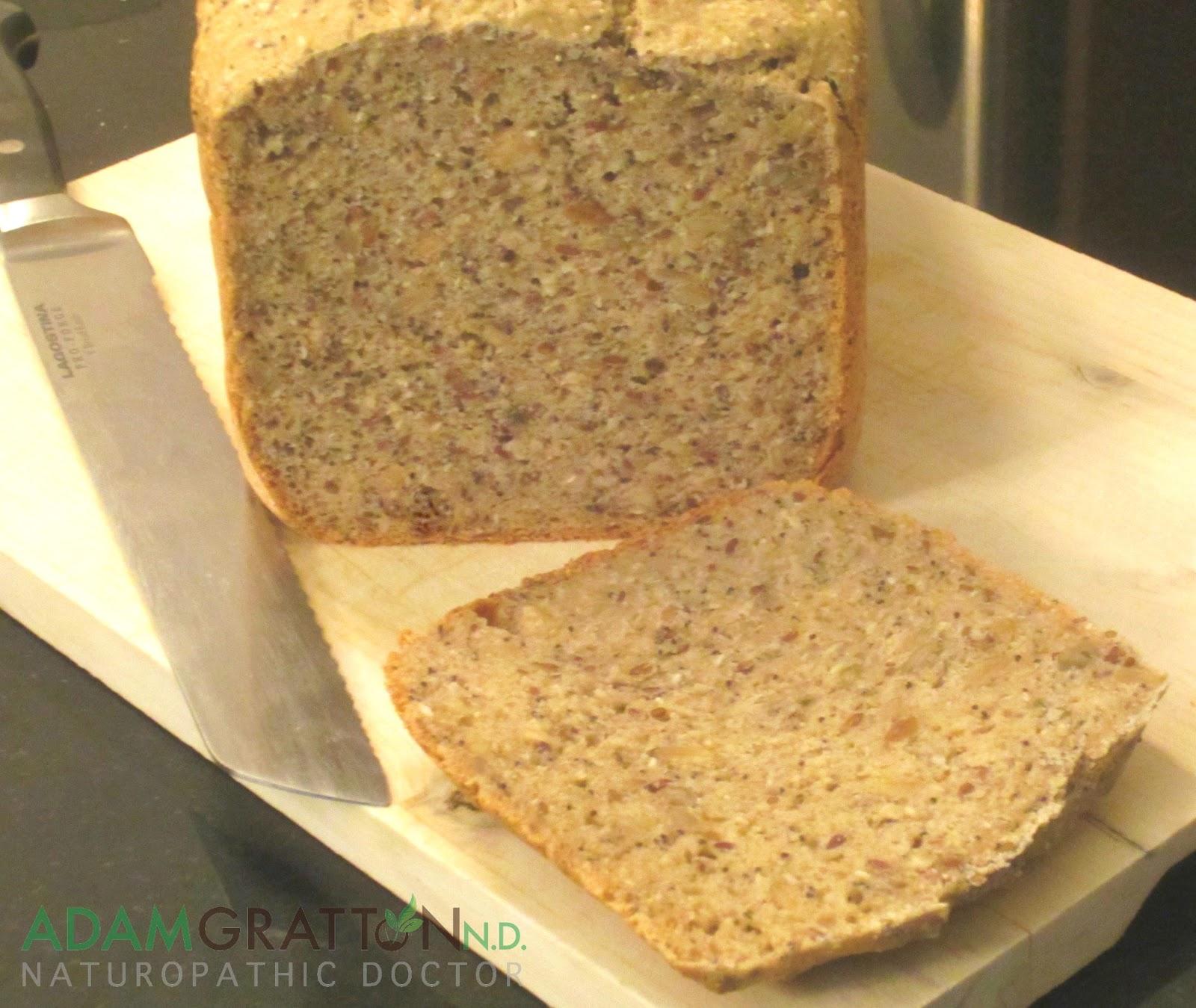 Bread Machine Recipe - Gluten Free Multi-seed Bread | adamgrattonND