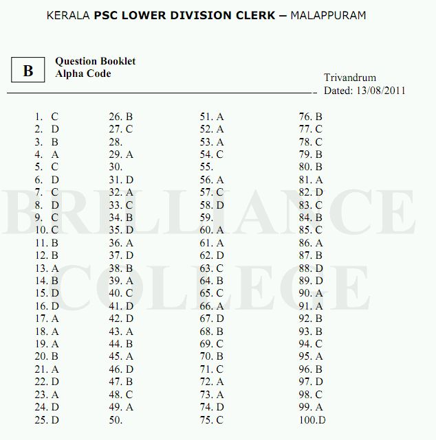 Kerala PSC LDC Answer Key Malappuram 2011- Question Papers and