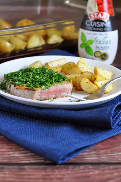 Herb-Crusted Steak with Oven Roasted Potatoes
