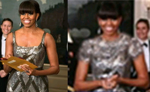 michelle obama oscar dress photoshopped