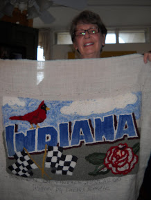 Linda's Indiana Rug almost done, love her lettering!!