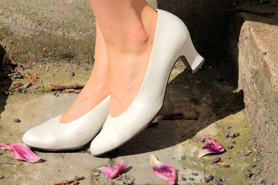 white heels vintage flower