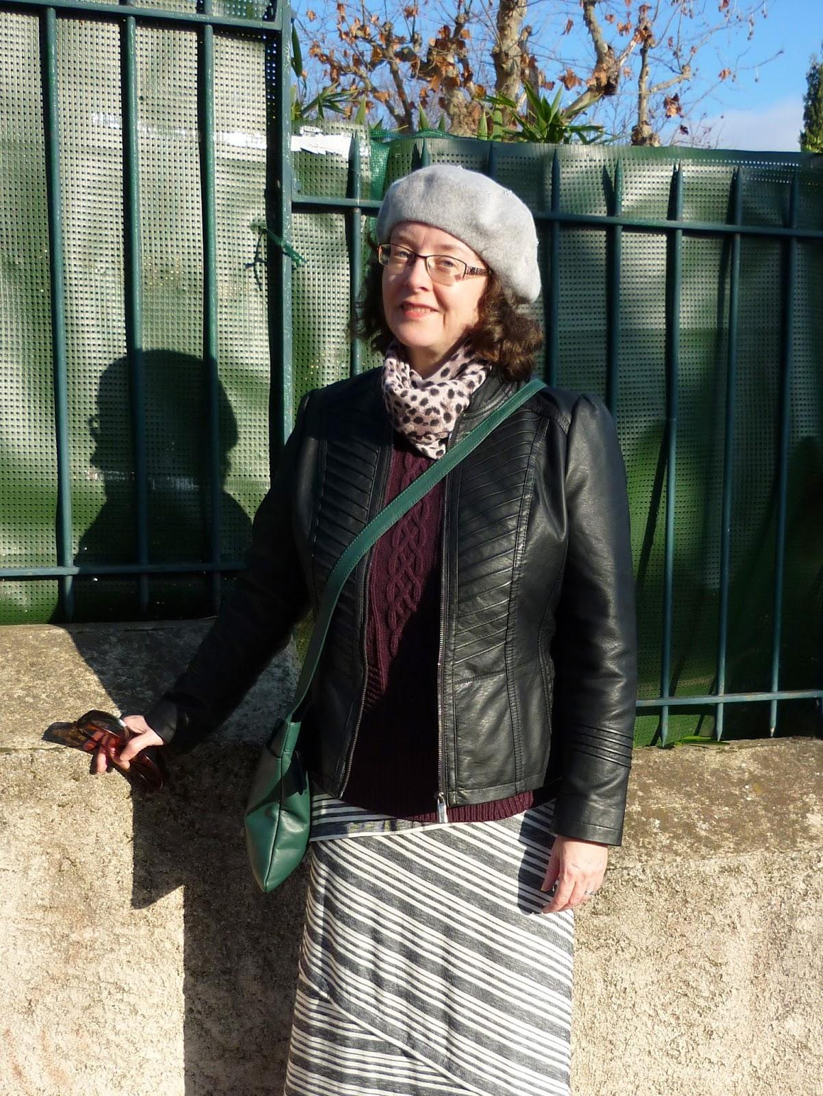 Grey striped Maxi Skirt, Wallis Petite Gothic Biker Jacket, Monsoon Beret | Petite Silver Vixen