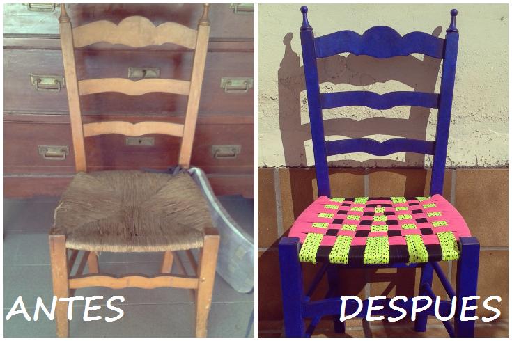 Diyvi rtete silla forrada con trapillo - Forrar sillas con tela ...
