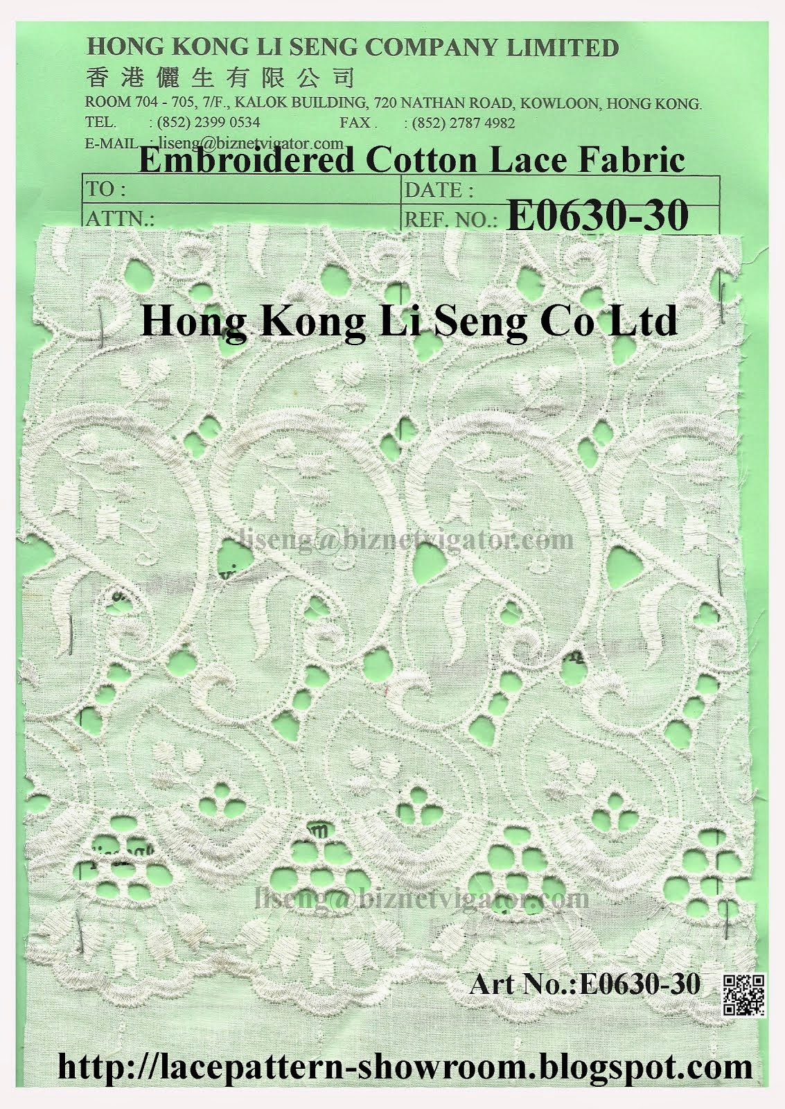 Embroidered Cotton Lace with End of Scallop Fabric Manufacturer - Hong Kong Li Seng Co Ltd