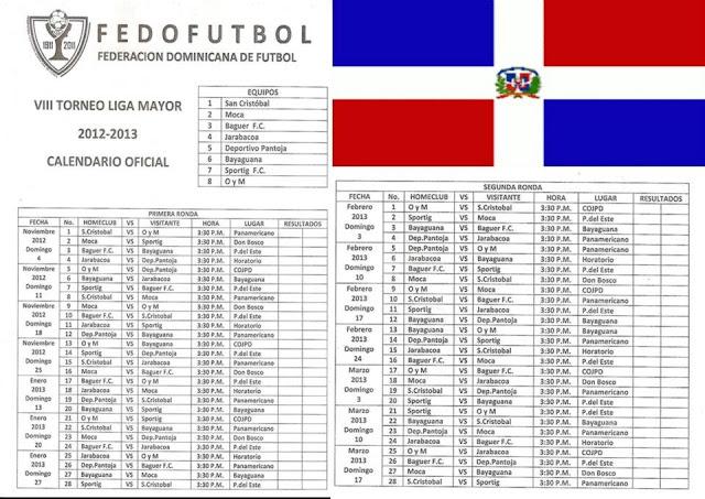 Calendario Liga Mayor 2012-2013