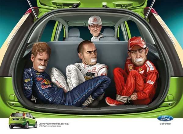 Ford publicidad Michael Schumacher Fernando Alonso Sebastian Vettel Lewis Hamilton