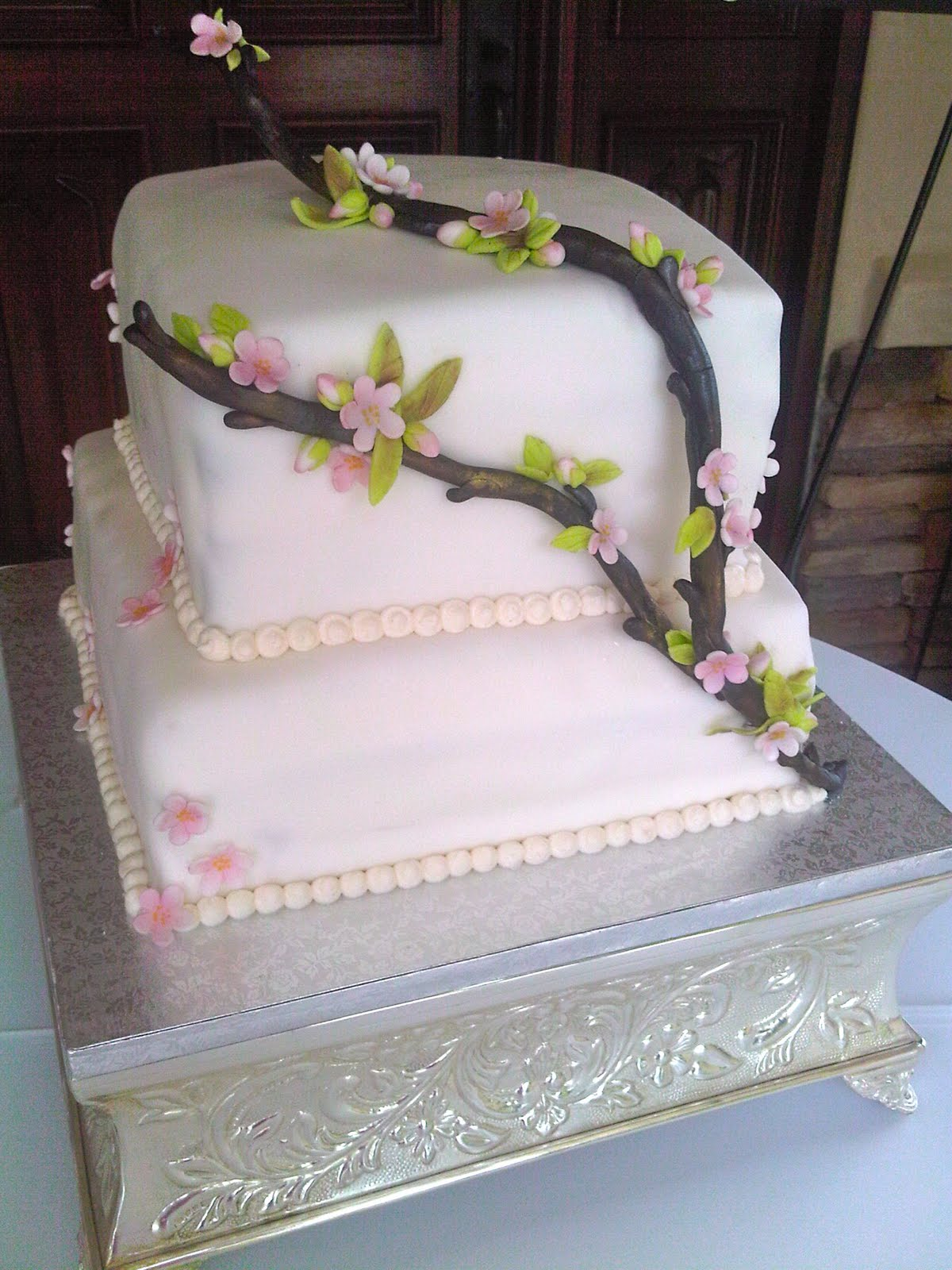Plumeria Cake Studio Cherry Blossom Wedding Cake