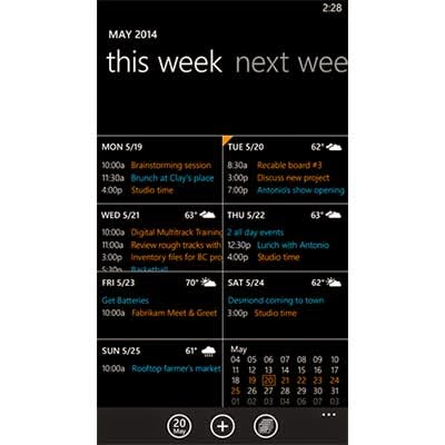 calendar update windows phone 8.1