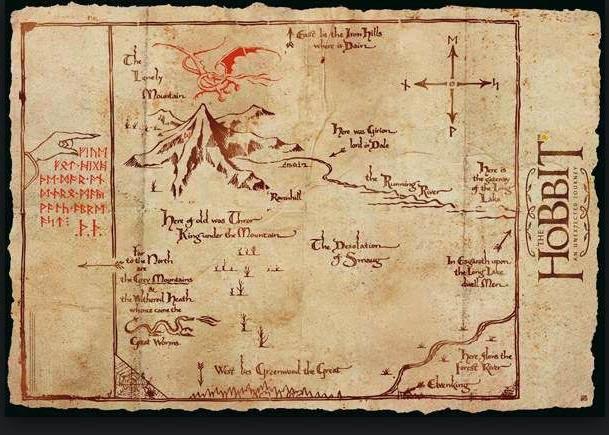 Poster Mapa Montaña Solitaria El Hobbit
