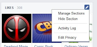 Editing Facebook account options for LIKES