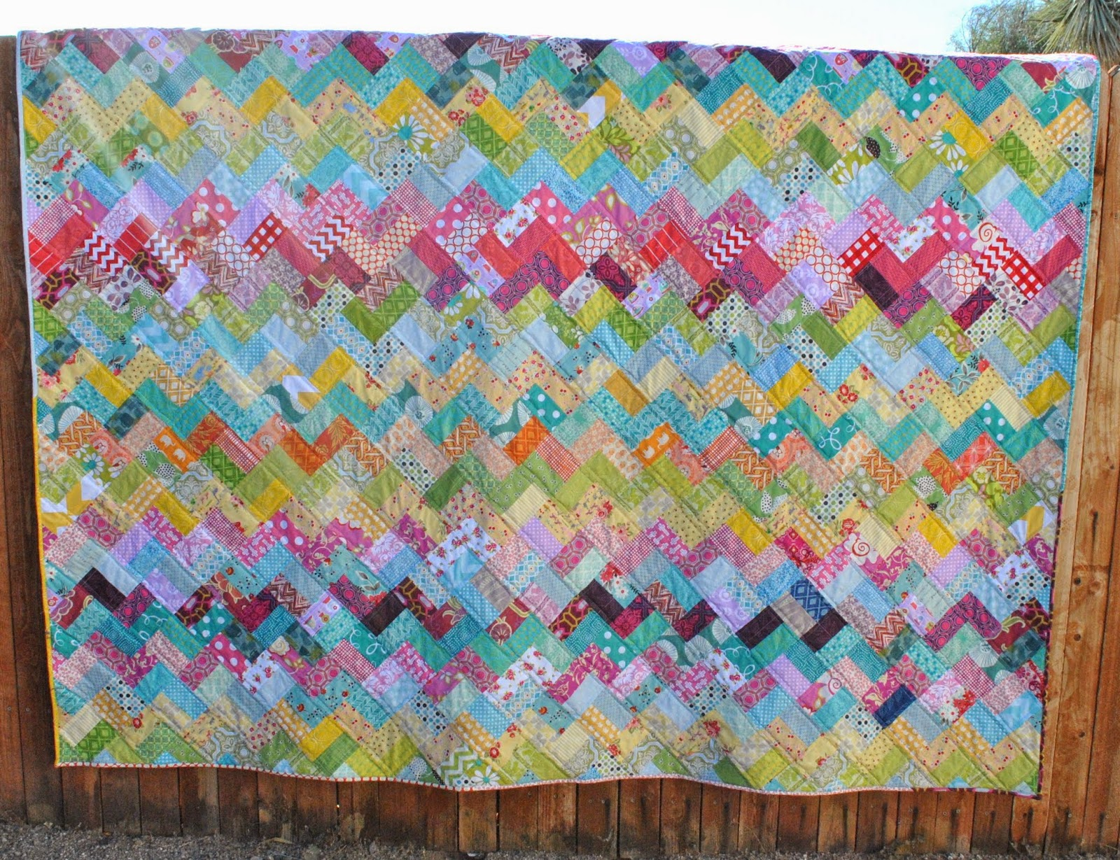 scrappy chevron quilt fence