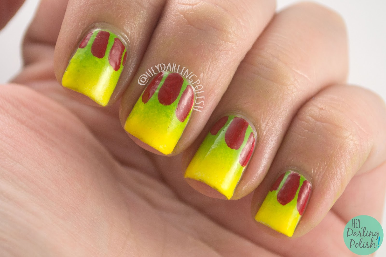 nails, nail art, nail polish, jurassic park, hey darling polish, gradient, green, yellow, 31 day challenge, 31dc2014