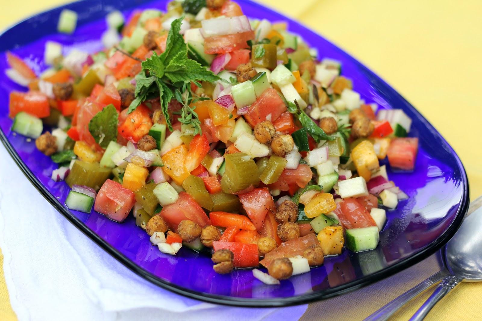 Blue Kale Road: Israeli-Style Salad with Crispy Chickpeas