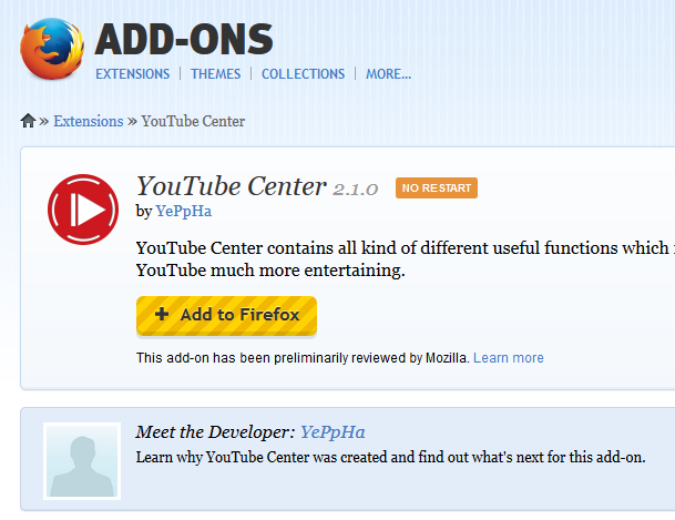 YouTubeCenter Addon