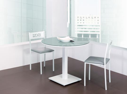 Precio mesa cocina cristal extensible moderna redonda tu for Mesa cocina blanca