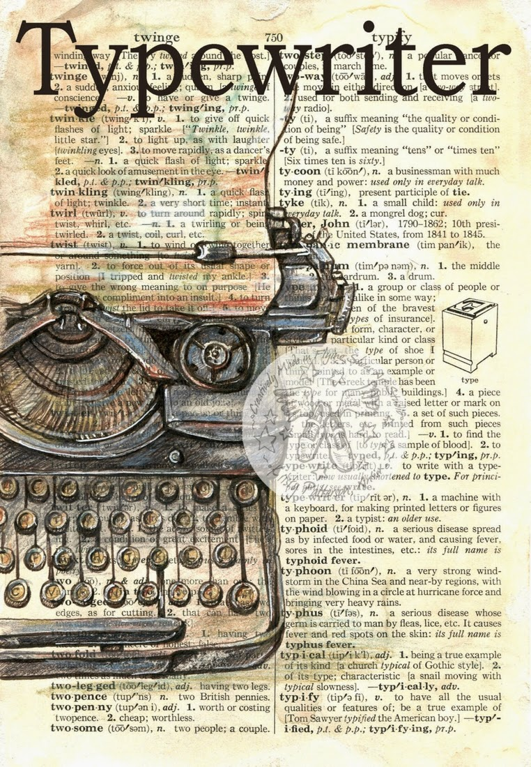 19-Typewriter-Kristy-Patterson-Flying-Shoes-Art-Studio-Dictionary-Drawings-www-designstack-co