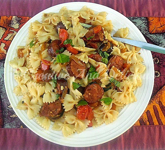 Mediterranean Chorizo Pasta ~ Rich Mediterranean flavors throughout this Pasta Salad #Salad #PastaSalad #MediterraneanRecipe