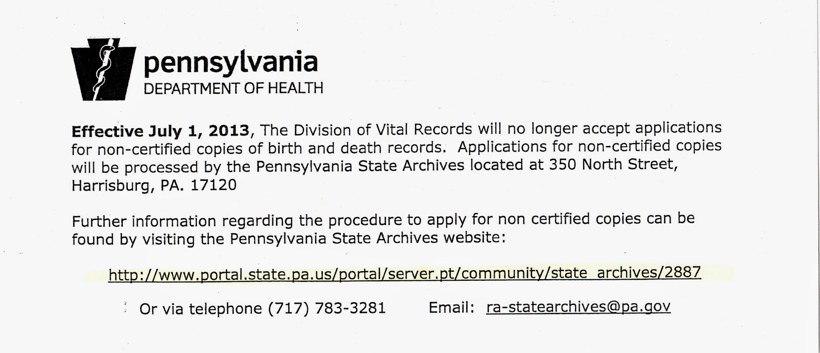 My Ancestors And Me Update On Ordering Pennsylvania Death Certificates