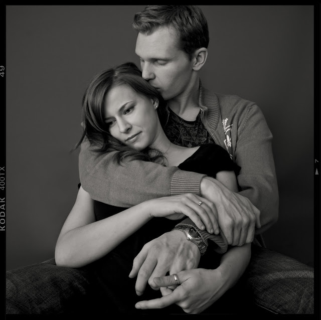 black and white couple photograph