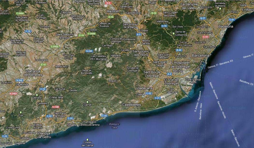 Delta Del Llobregat Mapa Del Delta Del Llobregat
