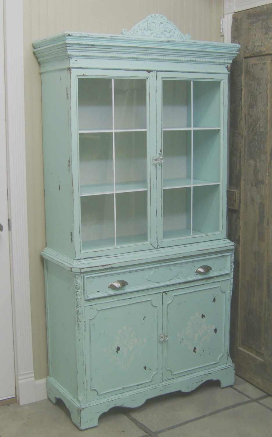 The recycled rose the never ending aqua china cabinet for Cupboard cabinet