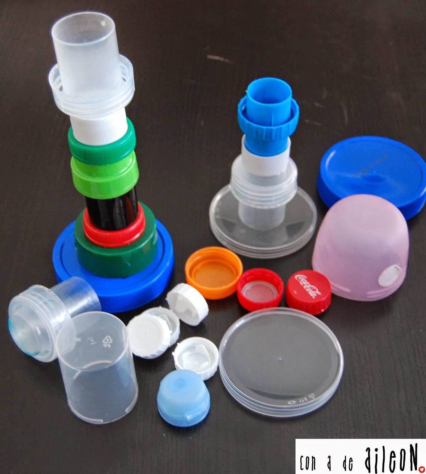 Tapones de plastico aprender manualidades es - Como hacer candelabros ...