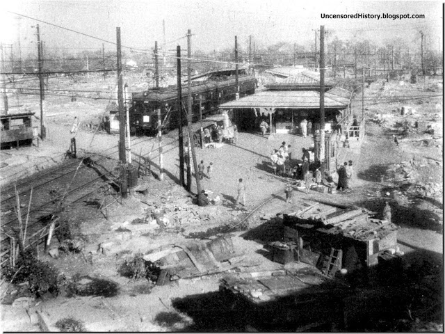 Togoshi  Railway station Tokyo March. 1945 destroyed Allied bombing