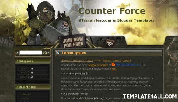Free Green CounsterStrike Games Blogger Template