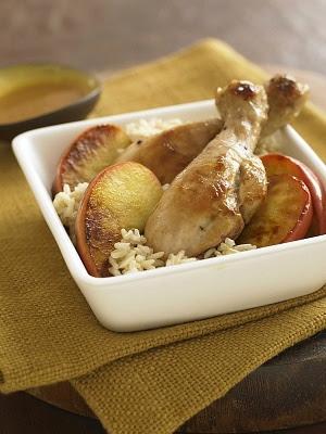 Pollo con manzana y arroz